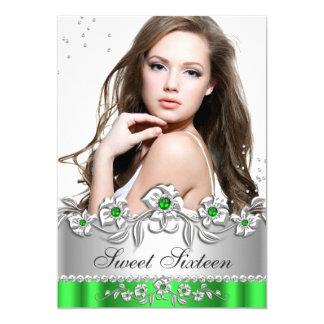 Sweet 16 Photo Lime Green Silver Diamond Jewel Card
