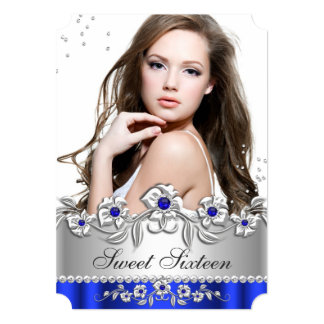 Sweet 16 Photo Royal Blue Silver Diamond Jewel Card