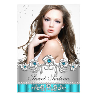 Sweet 16 Photo Teal Blue Silver Diamond Jewel Card