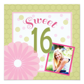 Sweet 16 Pink and Green Photo Invitation