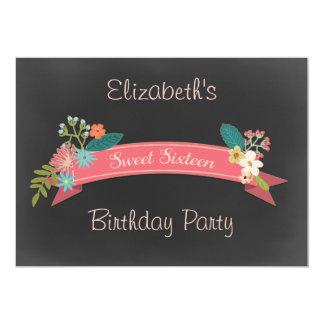 Sweet 16 Pink Banner Flowers Chalkboard Card