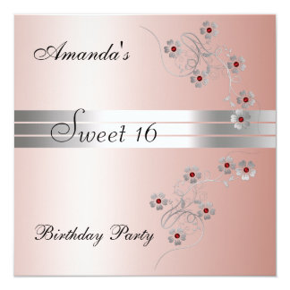 Sweet 16 Pink Birtday Party Invitation