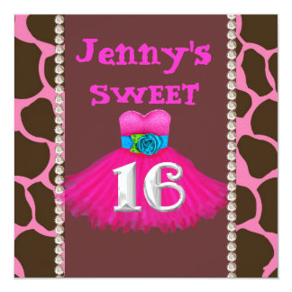 SWEET 16 PINK  Birthday Party Invitations
