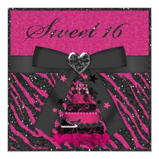 Sweet 16 Pink & Black Cake Faux Glitter Zebra Invitation