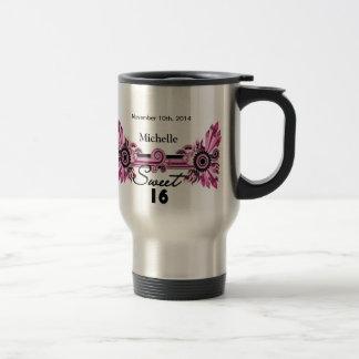 Sweet 16 Pink Black Scrolls & Swirls Name Date 15 Oz Stainless Steel Travel Mug