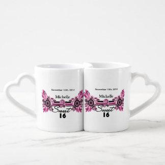 Sweet 16 Pink Black Scrolls & Swirls Name Date Couples' Coffee Mug Set
