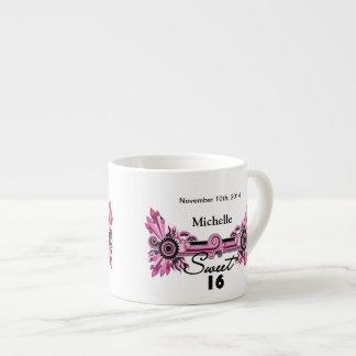 Sweet 16 Pink Black Scrolls & Swirls Name Date 6 Oz Ceramic Espresso Cup