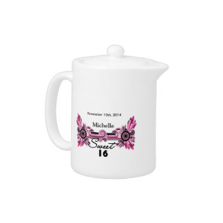 Sweet 16 Pink Black Scrolls & Swirls Name Date Teapot