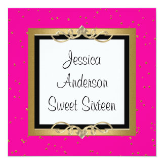 Sweet 16 Pink Black White Gold Spots Jewel Card