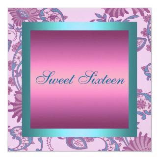 Sweet 16 Pink/Blue Flower Design Birthday Invite