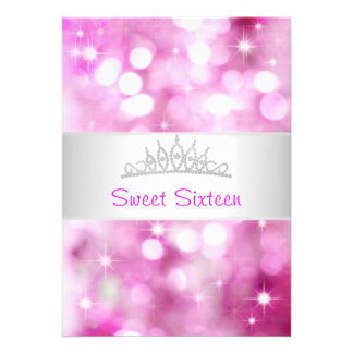 Sweet 16 Pink Bubbles Silver Jewel Tiara Party 18 Invites