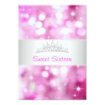 Sweet 16 Pink Bubbles Silver Jewel Tiara Party 18 5x7 Paper Invitation Card