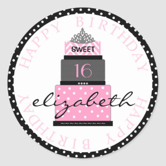 Sweet 16 Pink Cake Classic Round Sticker