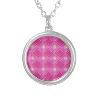 Sweet 16, Pink Diamonds Number Silver Plated Necklace