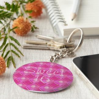 Sweet 16, Pink Diamonds Number Sixteen Keychain
