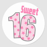 Sweet 16 (Pink Dots And Stars) Round Sticker