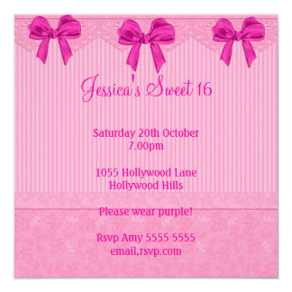 Sweet 16 Pink Flowers Bows Birthday 2 Card