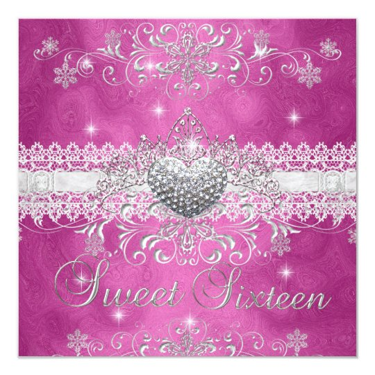 Sweet 16 Pink Glitter Tiara Lace Heart Card