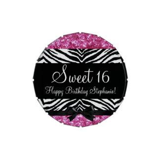 Sweet 16 Pink Glitter Zebra Bow Favor Jelly Belly Tin