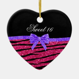 Sweet 16 pink glitter zebra stripes ceramic ornament