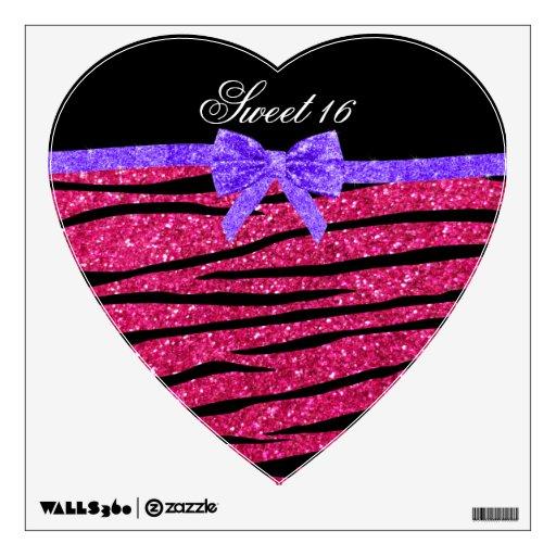 Sweet 16 pink glitter zebra stripes room graphics