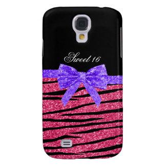 Sweet 16 pink glitter zebra stripes samsung s4 case