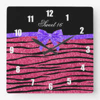 Sweet 16 pink glitter zebra stripes square wall clock