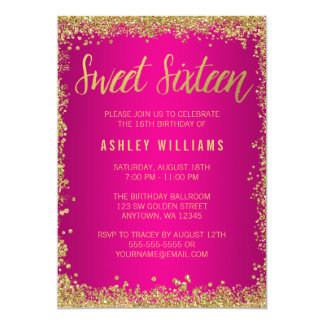 Sweet 16 Pink Gold Glitter Birthday Card