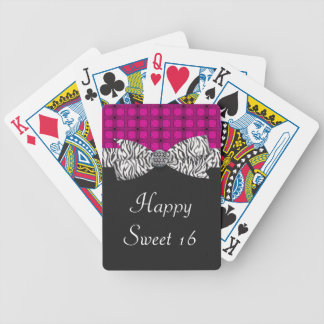 Sweet 16 Pink & Gray Zebra Birthday Bicycle Playing Cards