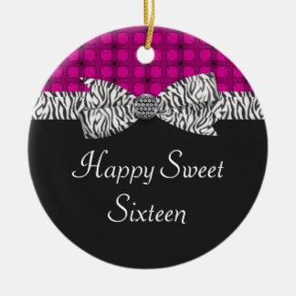 Sweet 16 Pink & Gray Zebra Birthday Ceramic Ornament