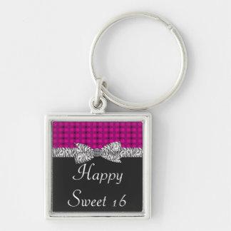 Sweet 16 Pink & Gray Zebra Birthday Keychain