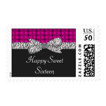 Sweet 16 Pink & Gray Zebra Birthday Postage
