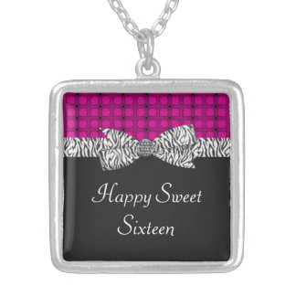 Sweet 16 Pink & Gray Zebra Birthday Silver Plated Necklace