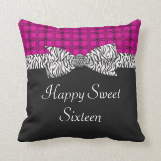 Sweet 16 Pink & Gray Zebra Birthday Throw Pillow