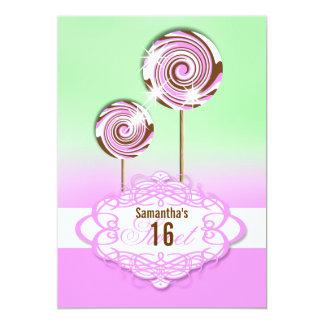 Sweet 16 pink green sixteenth custom invite