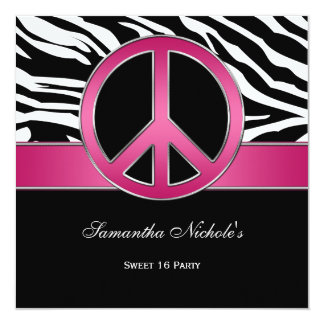 Sweet 16 Pink Peace Sign Black Zebra 5.25x5.25 Square Paper Invitation Card