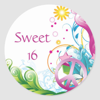 Sweet 16 Pink Peace Sign Tropical Floral Birthday Classic Round Sticker