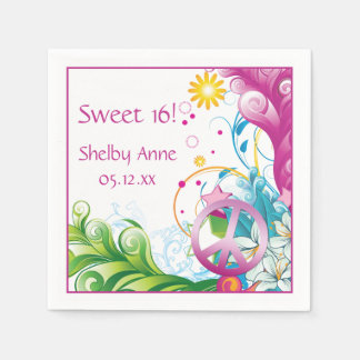 Sweet 16 Pink Peace Sign Tropical Paper Napkins