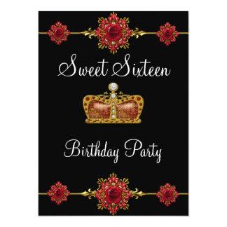 Sweet 16 Pink Red Gold Diamond Princess Black Card