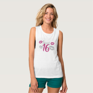 Sweet 16 Pink Silver Glitter Personalized Name Tank Top