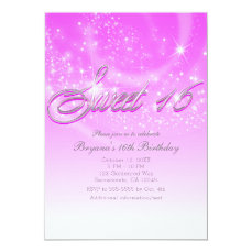 SWEET 16 Pink & Silver Sparkle Stars Party Card