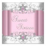 Sweet 16 Pink Silver White Diamond Image Party Invites