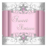 Sweet 16 Pink Silver White Diamond Image Party Invites