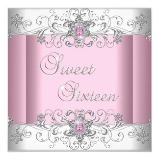 Sweet 16 Pink Silver White Diamond Image Party 5.25x5.25 Square Paper Invitation Card