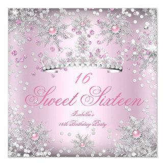 Sweet 16 Pink Snowflakes White Winter Wonderland Card