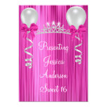 Sweet 16 Pink White Silver Jewel Tiara Formal 5x7 Paper Invitation Card