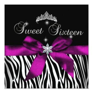 Sweet 16  Pink Zebra Black White Diamonds Card
