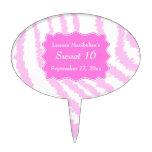 Sweet 16 Pink Zebra Print Pattern Cake Picks