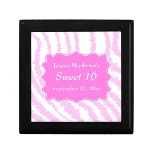 Sweet 16 Pink Zebra Print Pattern Gift Boxes