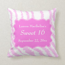 Sweet 16 Pink Zebra Print Pattern Throw Pillow